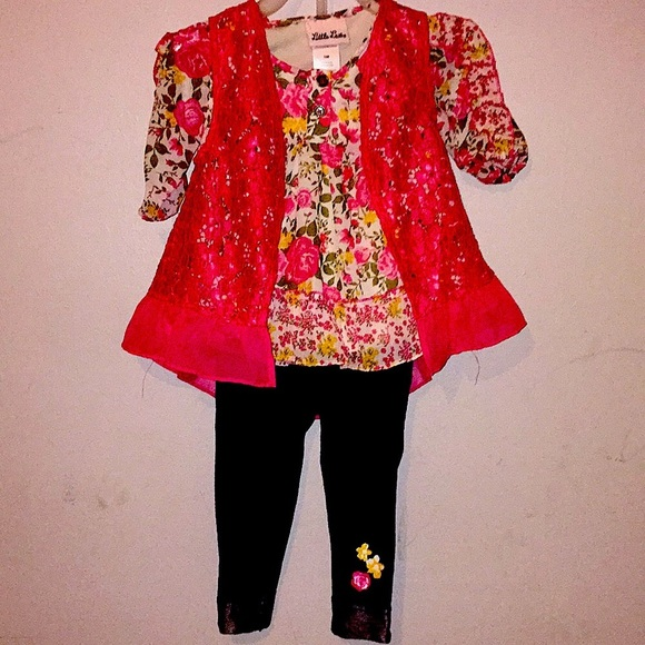 floral print ruffle shirt with lace vest and pants